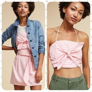 JOA Los Angeles Gingham Tie Front Top